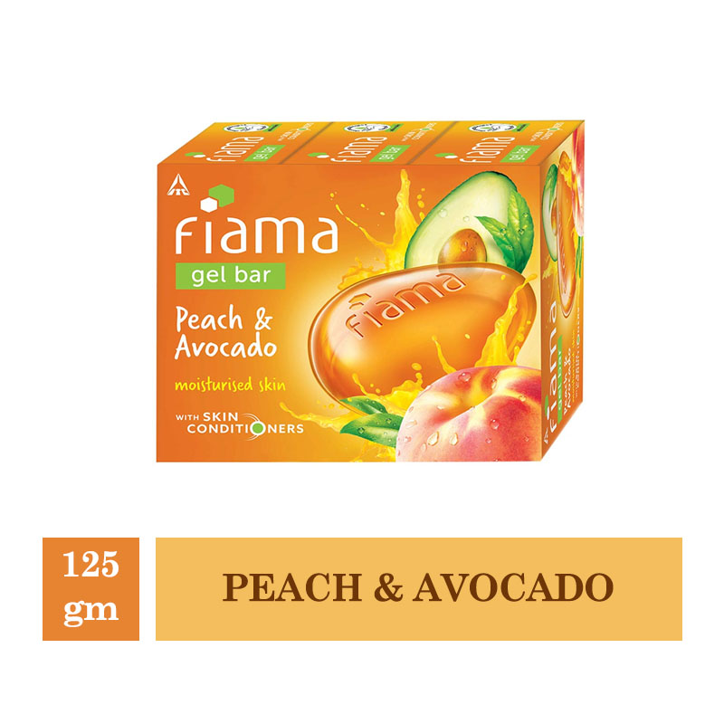 Bathing Bars & Soaps, Fiama Gel Bar Peach & Avocado (Pack of 3) - 125gm Each