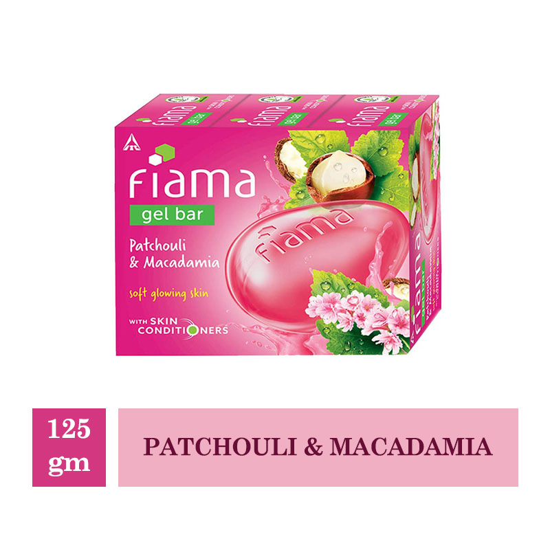 Bathing Bars & Soaps, Fiama Gel Bar Patchouli & Macadamia (Pack of 3) - 125gm Each