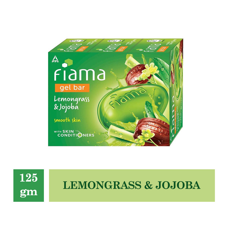 Bathing Bars & Soaps, Fiama Gel Bar Lemongrass & Jojoba (Pack of 3) - 125gm Each