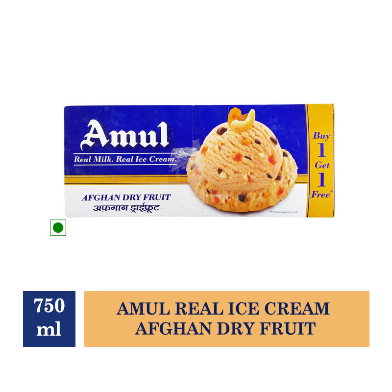 Amul Real Ice Cream Afghan Dry Fruit - 750ml (Buy 1 Get 1 Free)