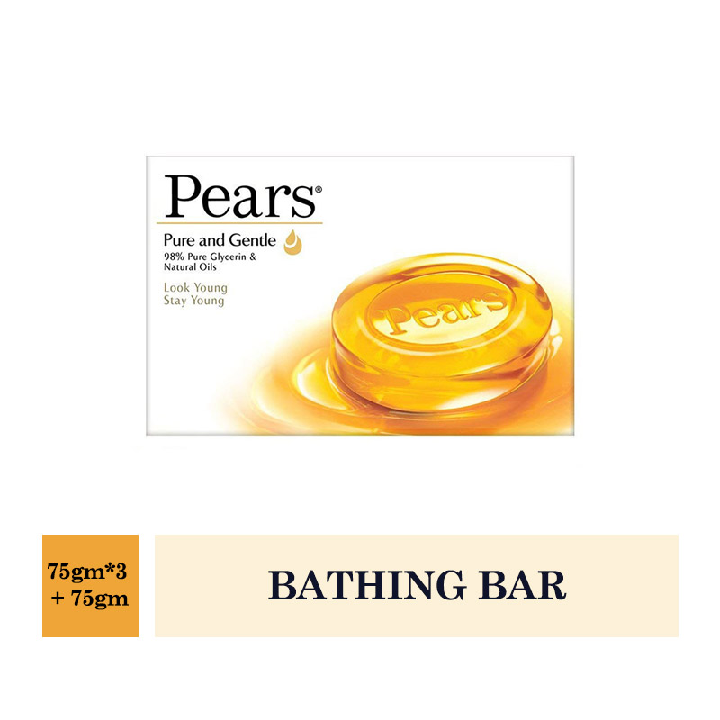 Bathing Bars & Soaps, Pears Pure & Gentle Bathing Bar (Buy 3 Get 1 Free) (75gm*3 + 75gm)