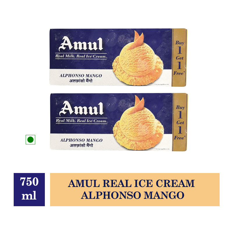 Amul Real Ice Cream Alphonso Mango - 750ml (Buy 1 Get 1 Free)