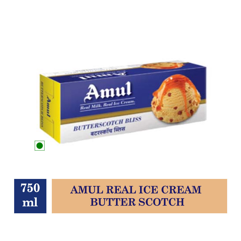 Amul Real Ice Cream Butter Scotch - 750ml (Buy 1 Get 1 Free)