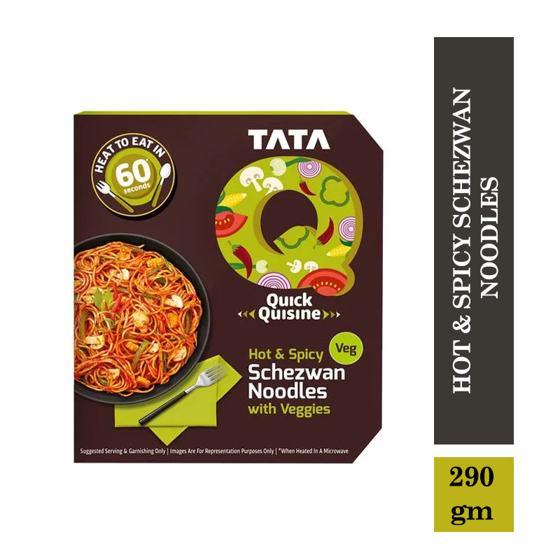 Ready to Cook & Eat, TATA Q Heat to Eat - Hot & Spicy Schezwan Noodles with Veggies - 290gm