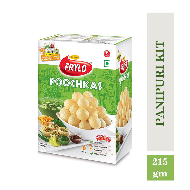 Snacks & Namkeen, Frylo Multigrain Poochkas Panipuri Kit (All in One)with Tamarind Paste, Green Chilli Paste, Pudina Pani Paste and Masala Boondi - 215gm