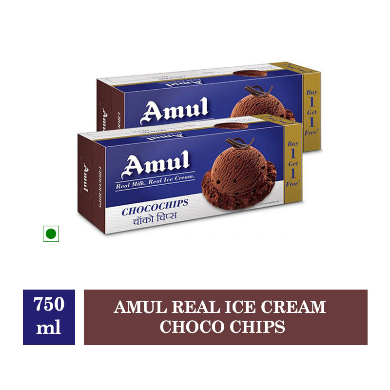 Amul Real Ice Cream Choco Chips - 750ml (Buy 1 Get 1 Free)