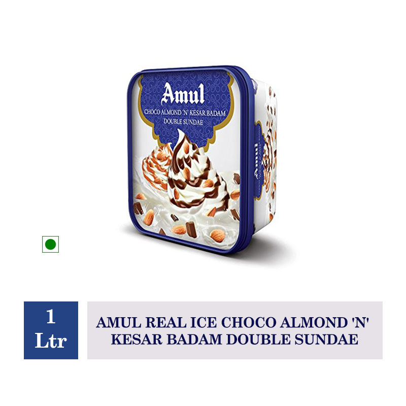 Amul Real Ice Choco Almond  'N' Kesar Badam Double Sundae - 1 Ltr