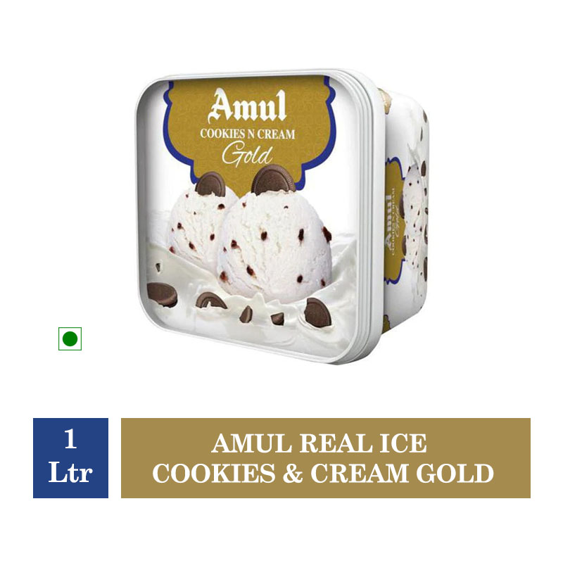Ice Creams & Desserts, Amul Real Ice Cookies & Cream Gold - 1 Ltr