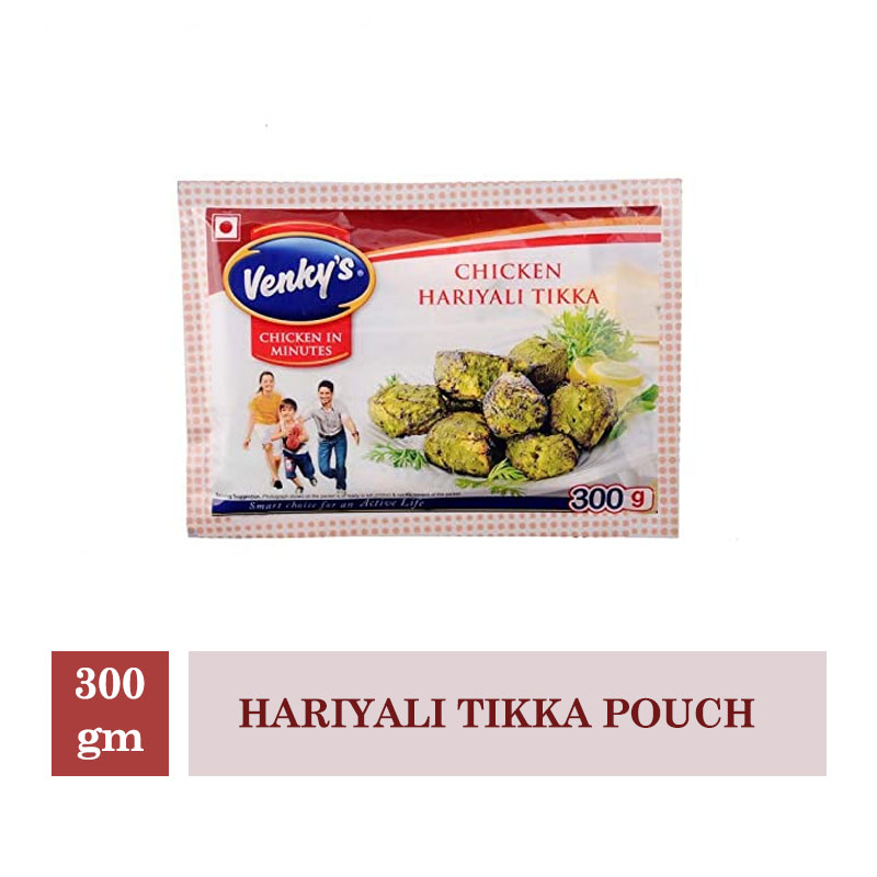 Frozen Veggies & Snacks, Venky's Chicken Hariyali Tikka Pouch - 300gm