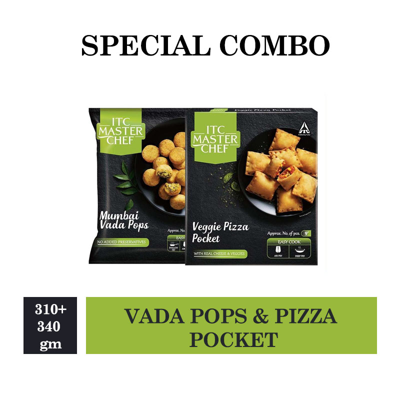 ITC Master Chef Mumbai Vada Pops 310gm & Veggie Pizza Pocket - 340gm