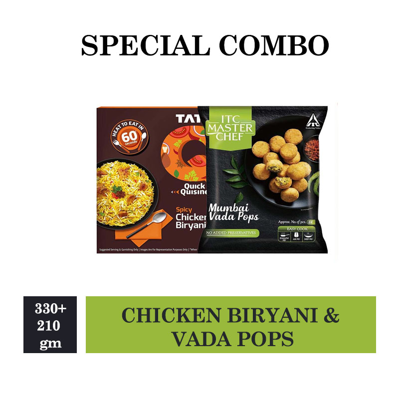 TATA Q Spicy Chicken Biryani - 330gm & ITC Master Chef Mediterranean Chicken Kebab - 210gm