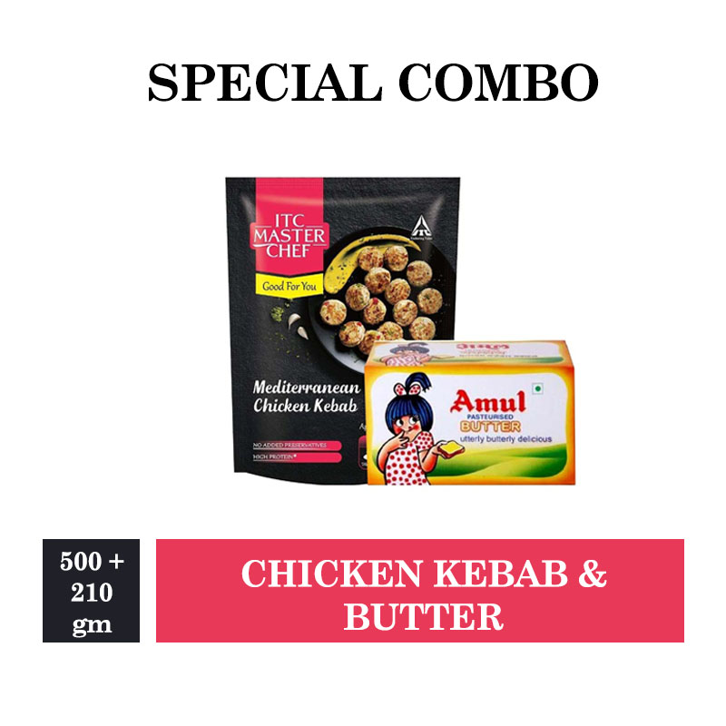 Amul Butter 500gm & ITC Master Chef Mediterranean Chicken Kebab - 210gm