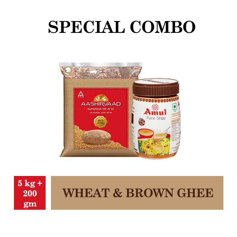 Aashirvaad Atta - Whole Wheat - 5Kg & Amul Brown Ghee 200gm
