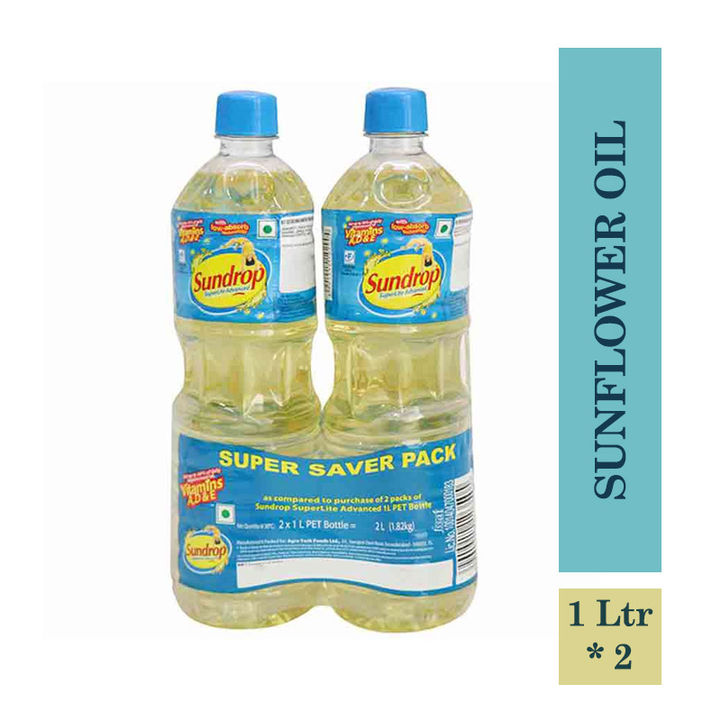 TOP Household Products, Sundrop Superlite Advanced Sunflower Oil Pouch - 1Ltr (Pack of 2)