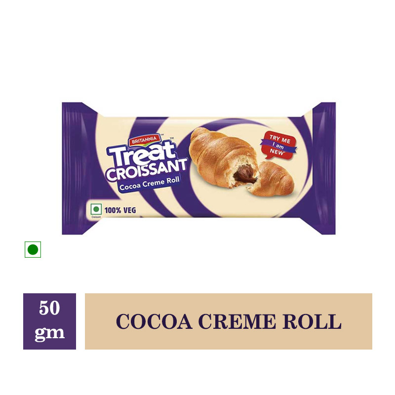 Biscuits & Cookies, Britannia Treat Croissants Cocoa Creme Roll - 50gm
