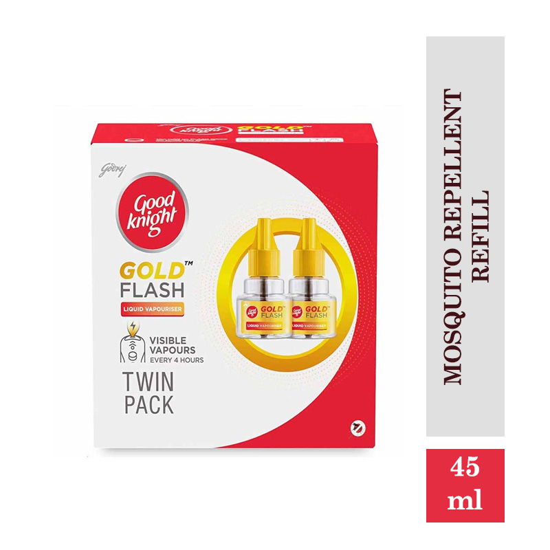 Good Knight Gold Flash - Mosquito Repellent Refill, 45ml each (Pack of 2)