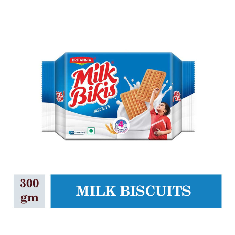 Britannia Milk Bikis Milk Biscuits Pouch - 300gm