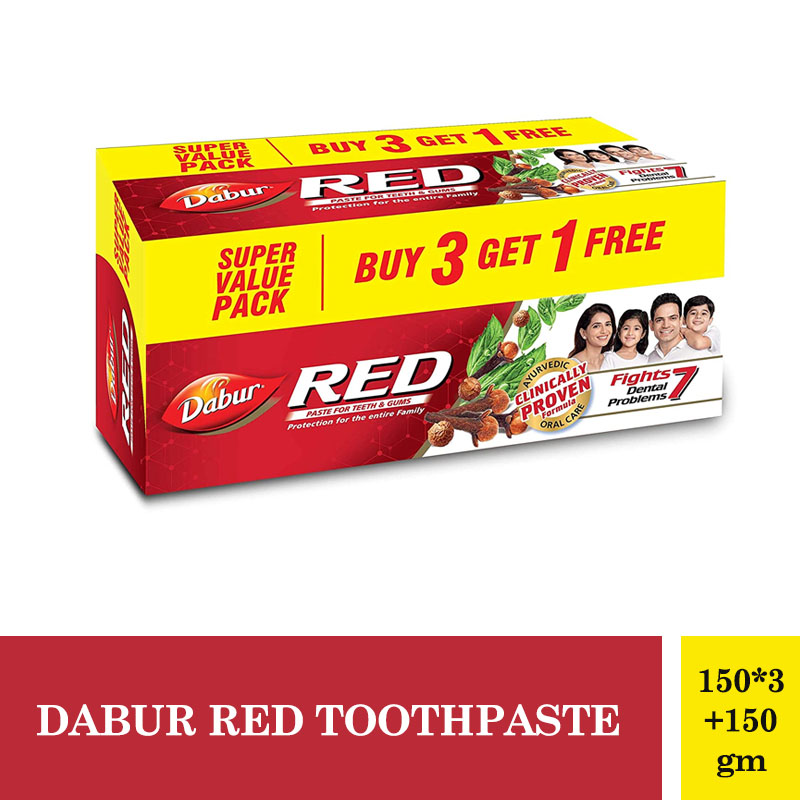 Combo Offers, Dabur Red Toothpaste - 150Gm*3 + 150gm (Buy 3 Get 1 Free)