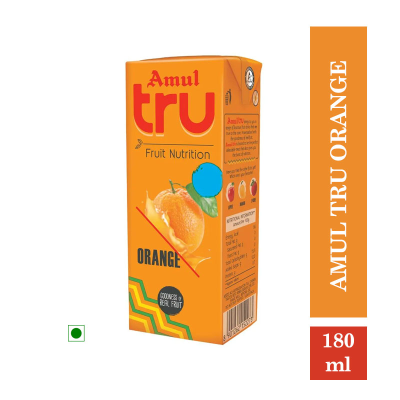 Amul Tru Orange - 180ml (Pack of 5Pcs)