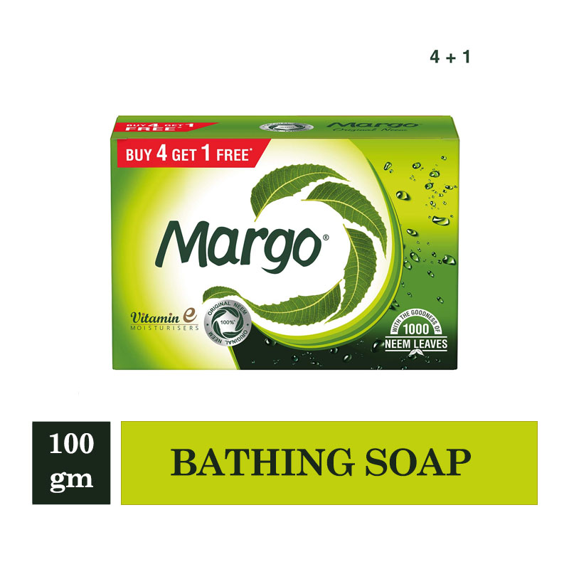 Combo Offers, Margo Soap - 100gm*4+1 (Buy 4 Get 1 Free)