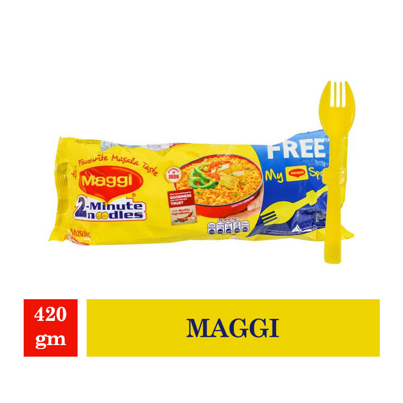 Maggi 2-Minutes Noodles Masala - 420gm(Worth Free Spoon Rs.35/-)