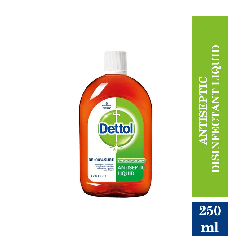 Health & Medicine, Dettol Antiseptic Disinfectant liquid for First aid, Surface Cleaning and Personal Hygiene - 250ml