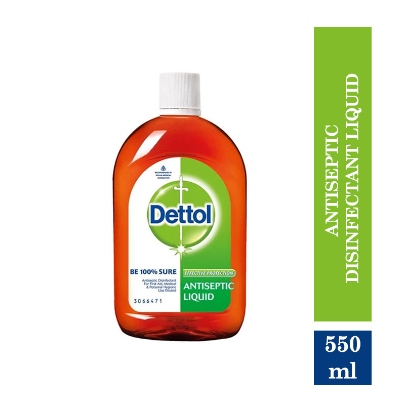 Health & Medicine, Dettol Antiseptic Disinfectant liquid for First aid, Surface Cleaning and Personal Hygiene - 550ml