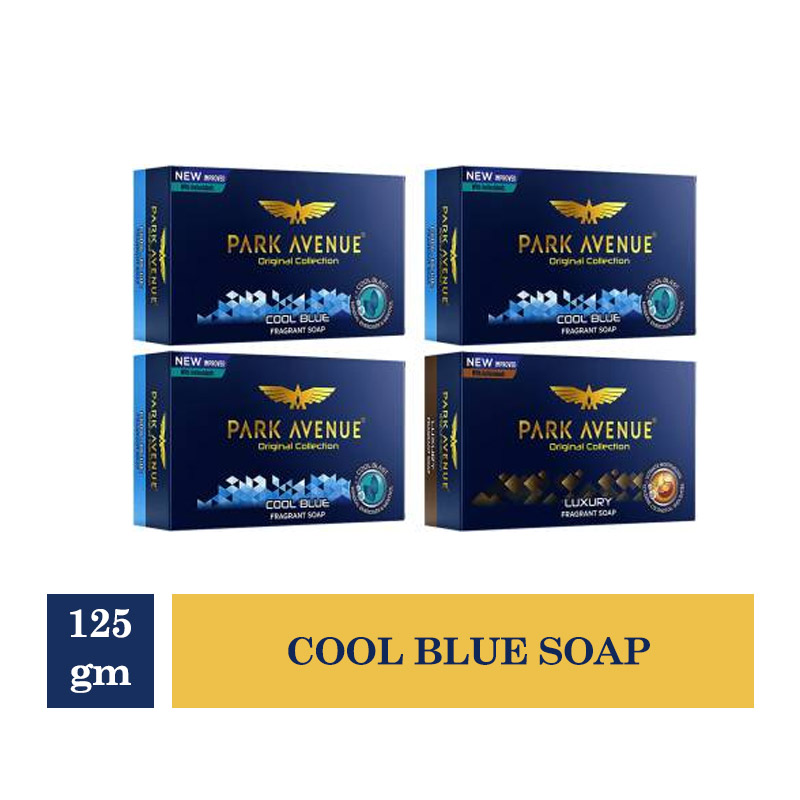 Combo Offers, Park Avenue Cool Blue Soap For Men - 125gm (Buy 3 Get 1 Free)
