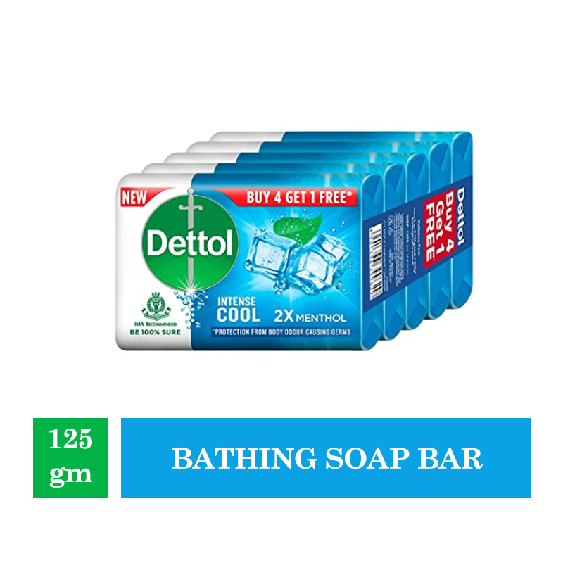 Combo Offers, Dettol Cool Germ Protection Bathing Soap bar, 125gm (Buy 4 Get 1 Free)