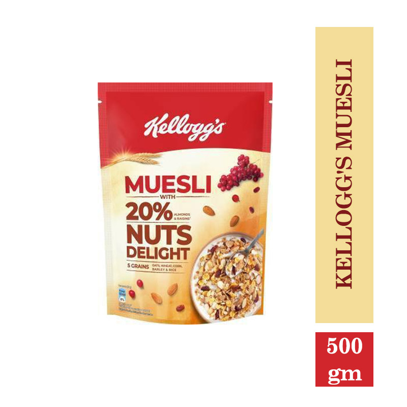 New Arrivals, Kellogg's Muesli 20% Nuts Delight - Breakfast Cereal - High in Iron - High in Fibre - 500gm