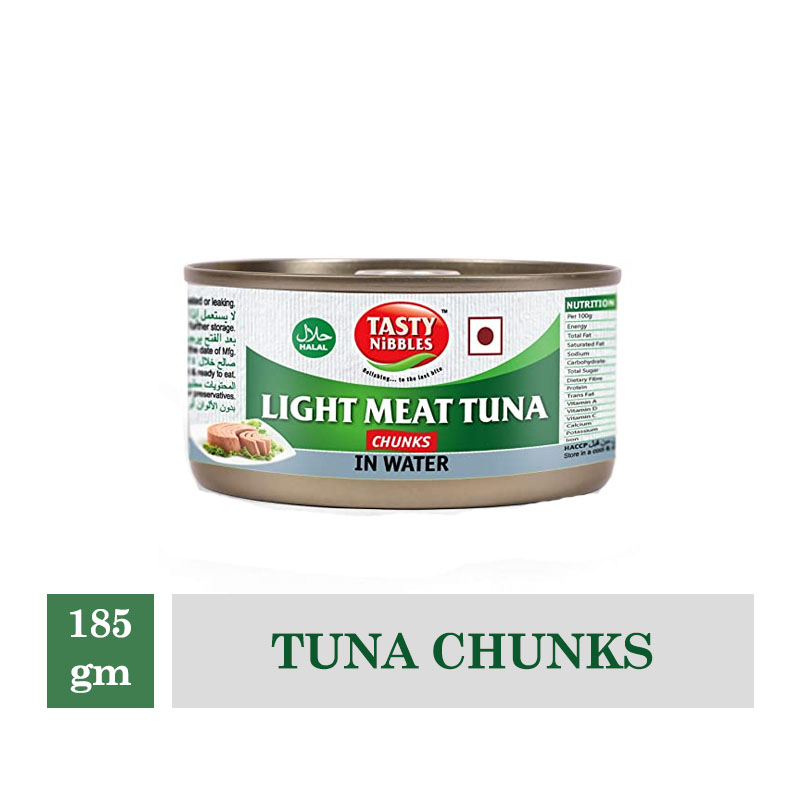 Frozen Snacks, Tasty Nibbles Tuna Chunks - Light Meat, in Water - 185 gm Canned