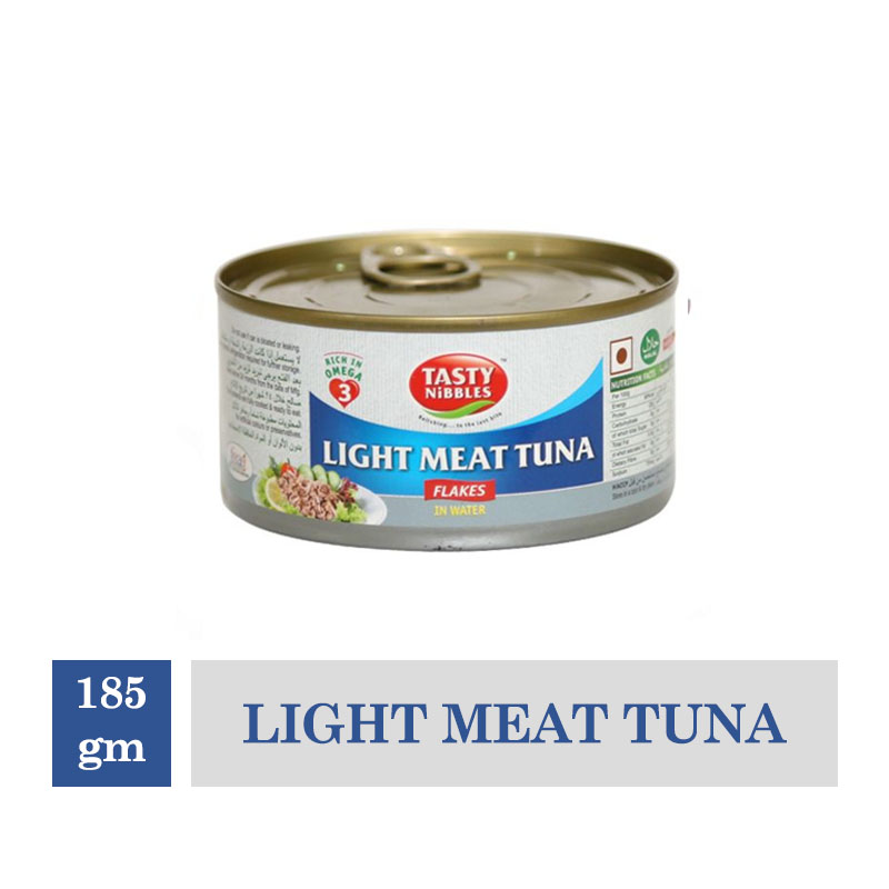 Frozen Snacks, Tasty Nibbles Light Meat Tuna Flakes in Water  - 185gm Canned