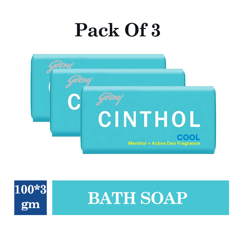 Bathing Bars & Soaps, Cinthol Cool Bath Soap - 99.9% Germ Protection - 100 g (Pack of 3)