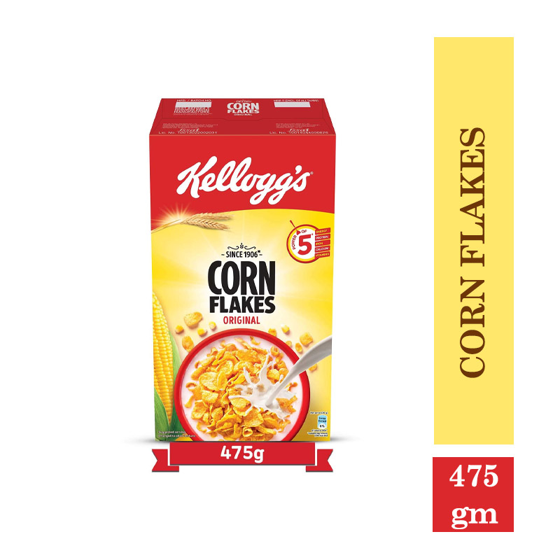 Breakfast Cereals, Kellogg's Corn Flakes Original, High in Iron, High in B Group Vitamins, Breakfast Cereals - 475g Pack