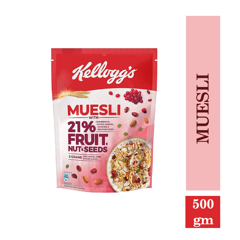 Breakfast Cereals, New Kellogg's Muesli with 21% Fruit, Nut & Seeds |Tastier Now with Cranberries and Pumpkin Seeds |Breakfast Cereal | High in Iron| Source of Fibre Naturally Cholesterol Free - 500gm Pack