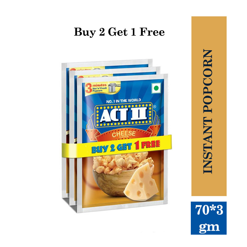 Combo Offers, Act II Instant Popcorn, Cheese - 3x70gm (Buy 2 Get 1 Free)