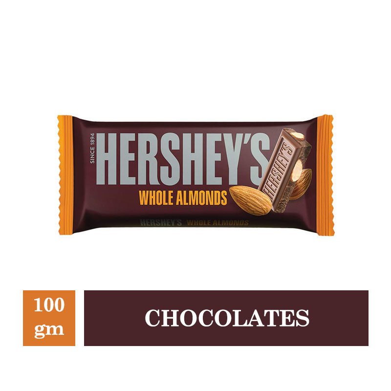 Top Household Products, Hershey's Whole Almonds Bar - 100gm
