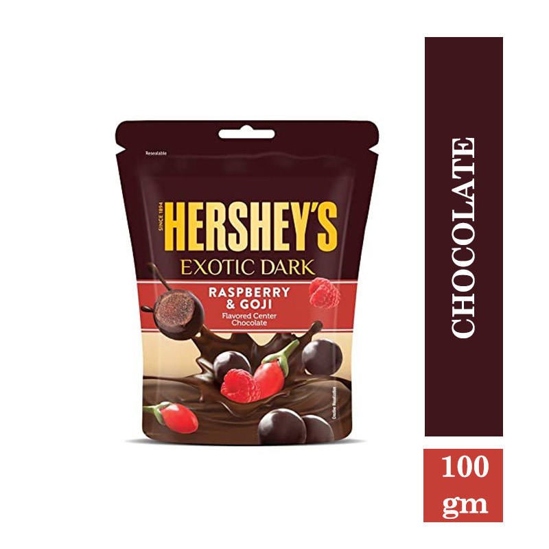 Top Household Products, Hershey's Exotic Dark Raspberry & Goji Pouch - 100gm