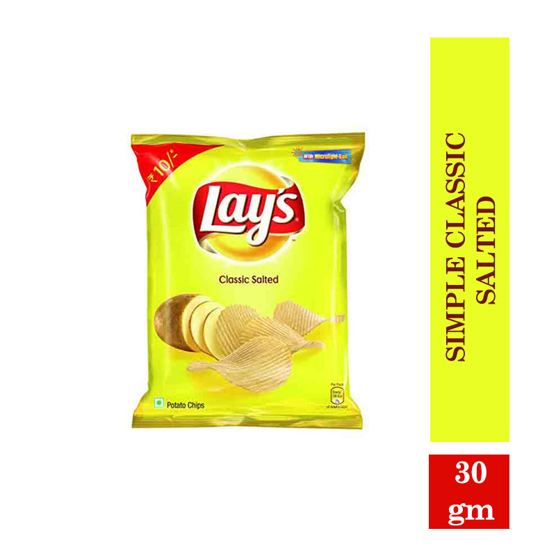 Snacks & Namkeen, Lay's Potato Chips - Simple Classic Salted - 30gm