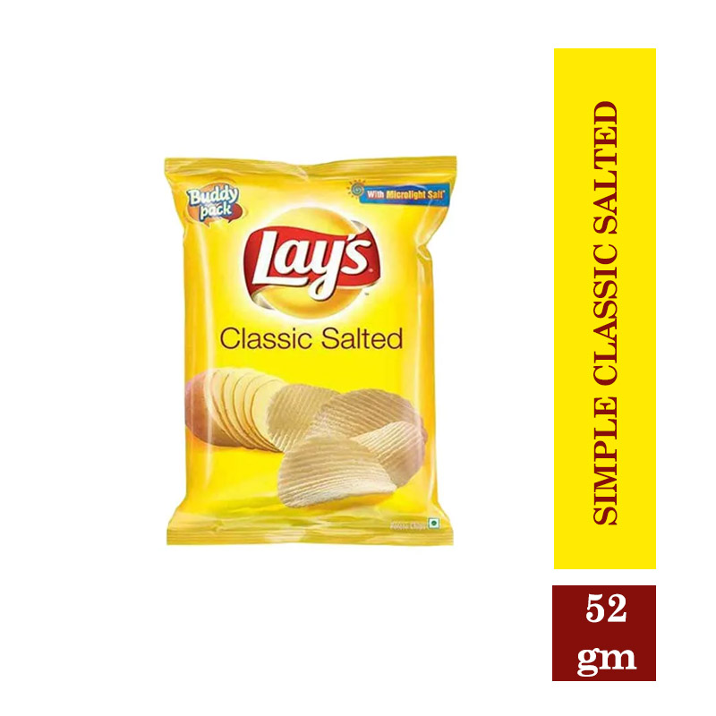 Snacks & Soft Drinks, Lay's Potato Chips - Simple Classic Salted - 52gm