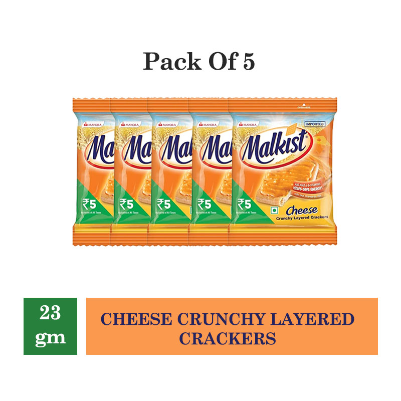 Biscuits & Cookies, Malkist Cheese Crunchy Layered Crackers - 23gm (Pack of 5Pcs)