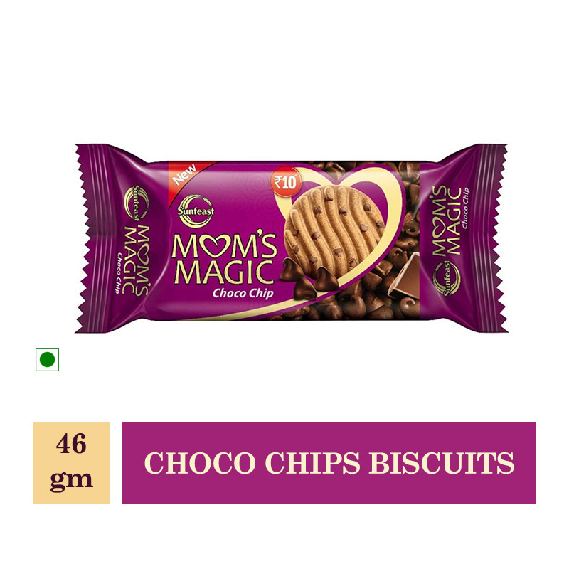 New Arrivals, Sunfeast Moms Magic Cookies - Choco Chips Biscuits - 46Gm