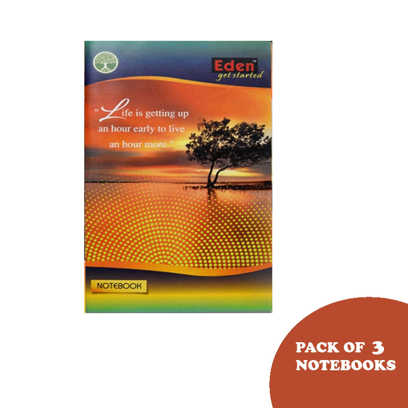 Eden, Mini Long, Ruled, Single Line, 180 Pages, Pack of 3 - Eden Notebook