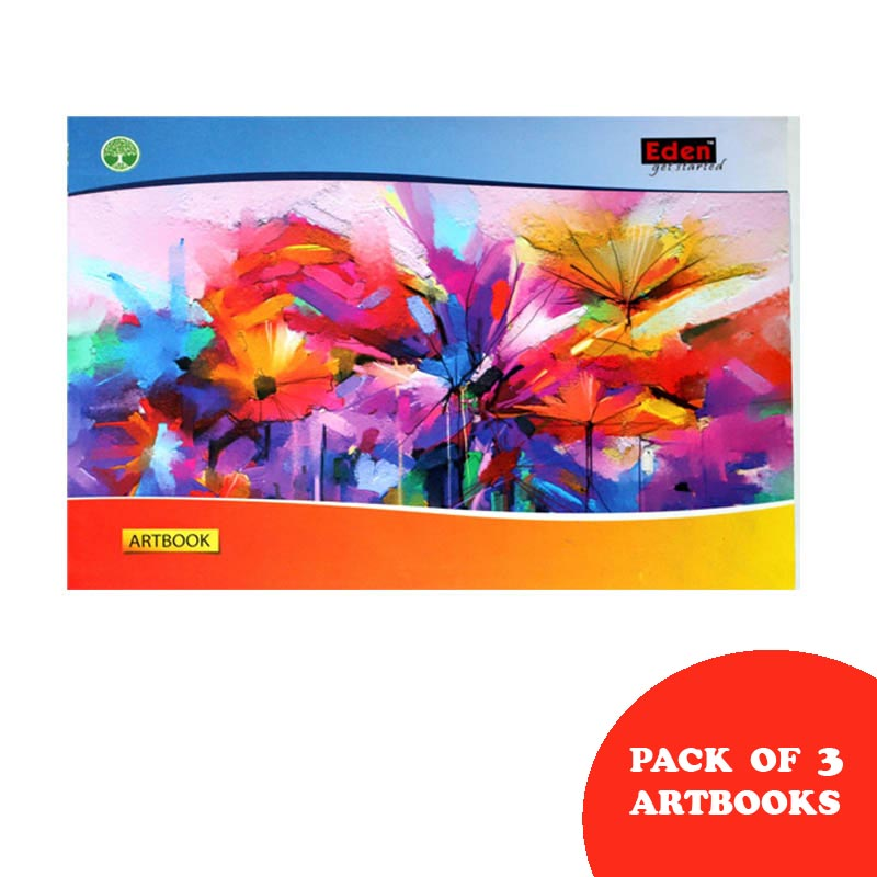 Notebooks, Drawing, Big Size, 44 Pages, Unruled, Pack of 3 - Eden Drawing Book