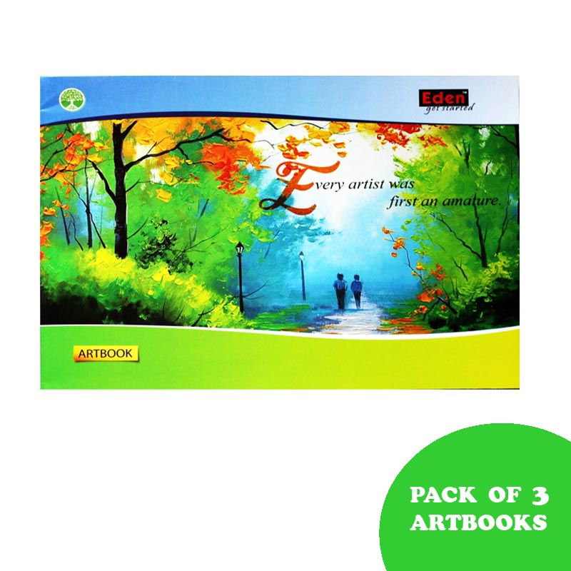 Notebooks, Drawing, Big Size, 64 Pages, Unruled, Pack of 3 - Eden Drawing Book