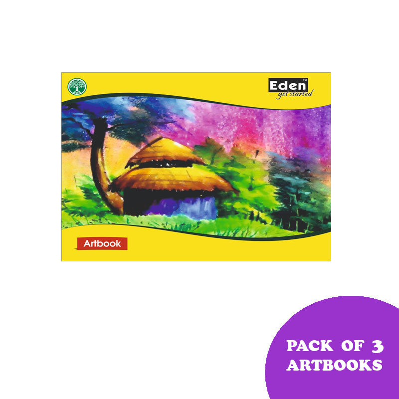 Notebooks, Drawing, Small Size, 128 Pages, Unruled, Pack of 3 - Eden Drawing Book