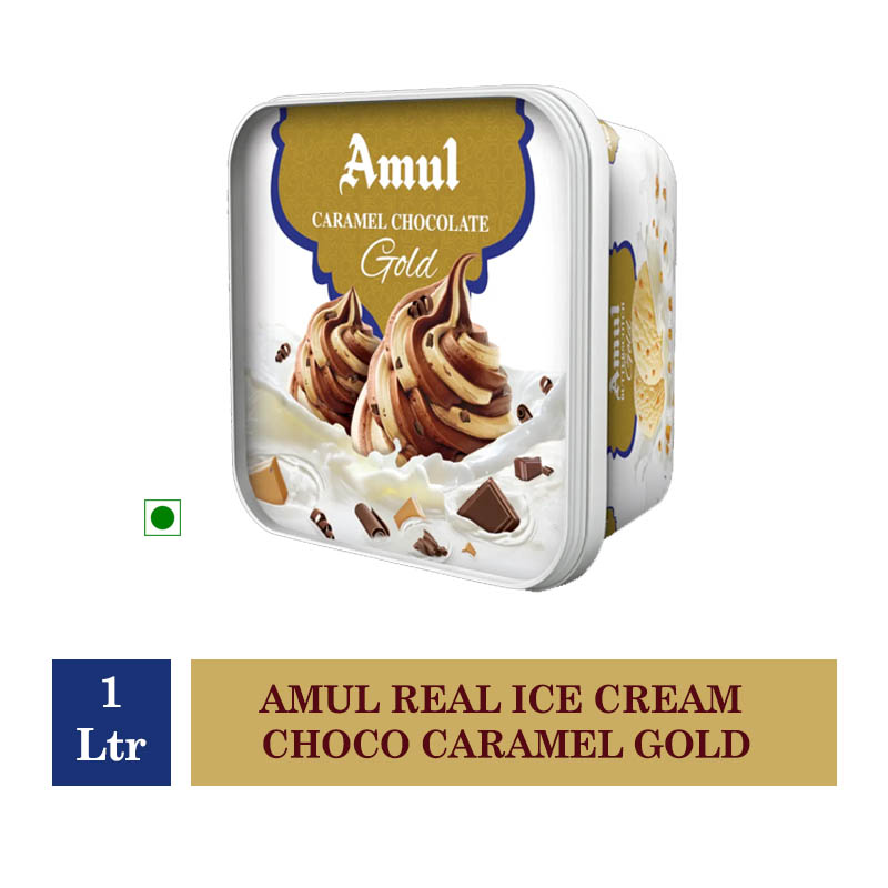Amul Real Ice Cream Choco Caramel Gold - 1 Ltr
