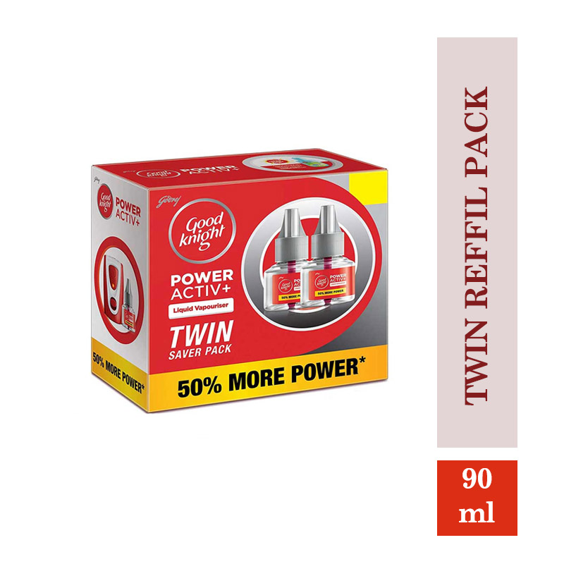 Fresheners & Repellents, Good Knight Power Active + Twin Reffil Pack (90ml)