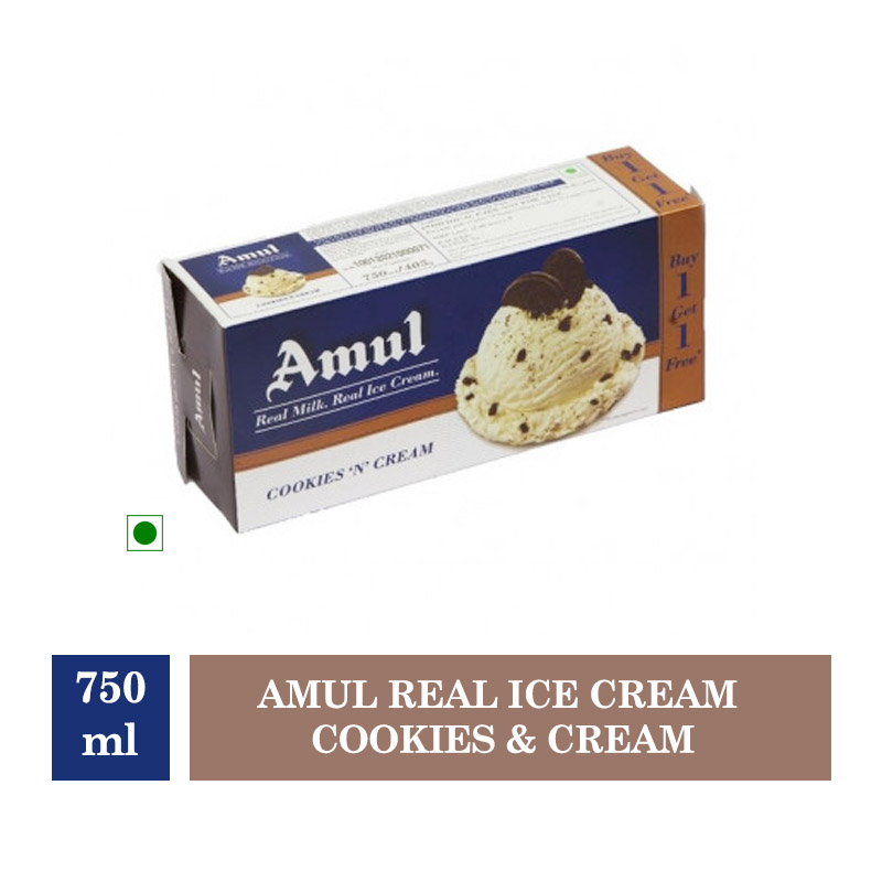 Amul Real Ice Cream Cookies & Cream - 750ml (Buy 1 Get 1 Free)(