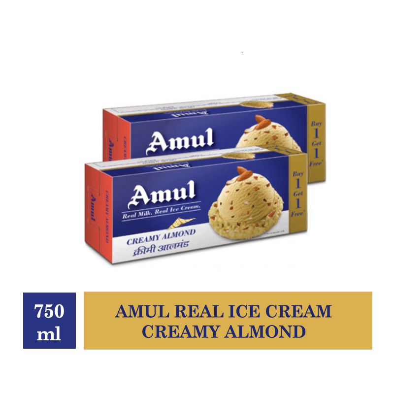 Combo Offers, Amul Real Ice Cream Creamy Almond - 750ml (Buy 1 Get 1 Free)